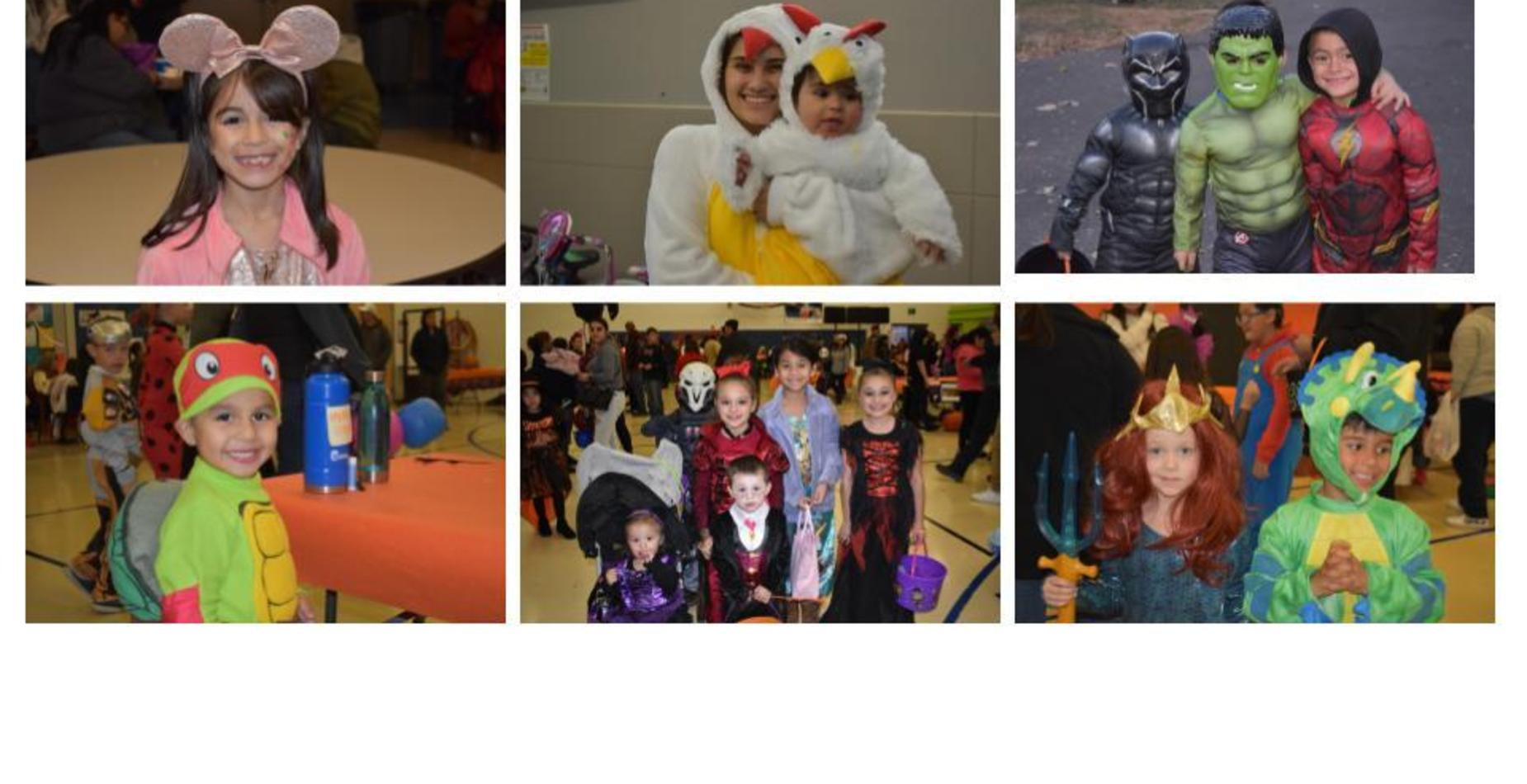 Kids and families dressed up for the halloween carnival.