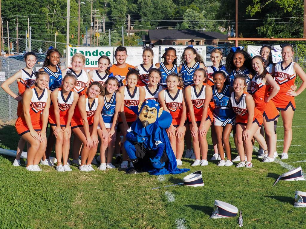 HHS and RCHS Football Cheerleaders with Blue Devils Mascot 2017