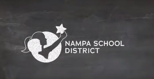 Nampa School District logo in chalk on a blackboard.