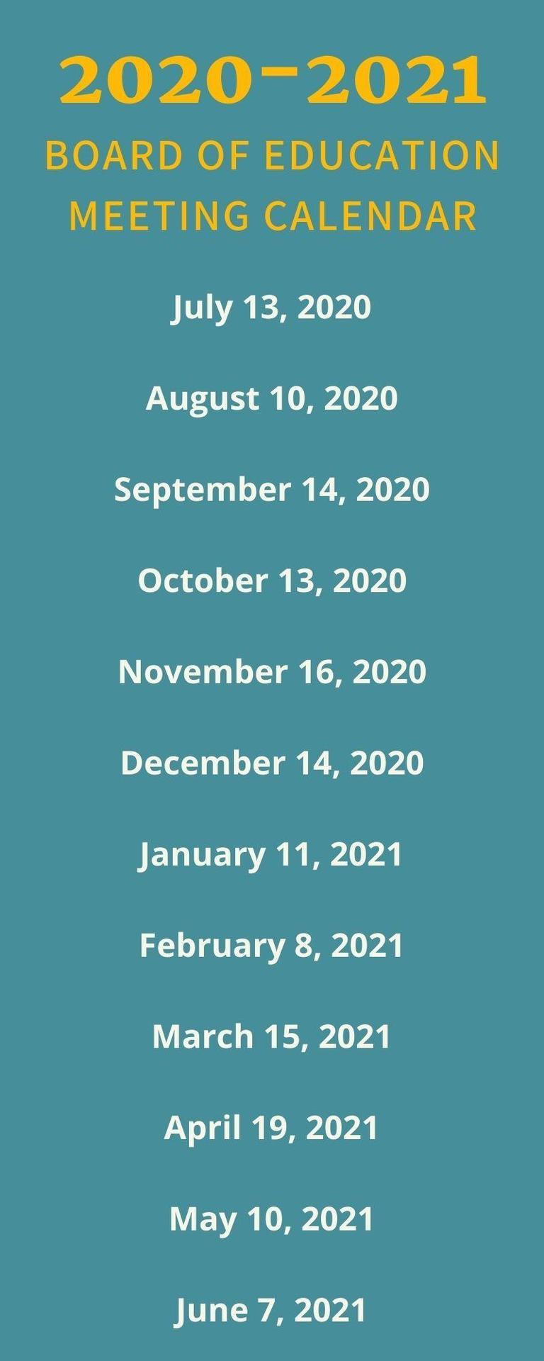 school board meeting calendar