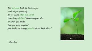 Rupi Kaur poem with sapling