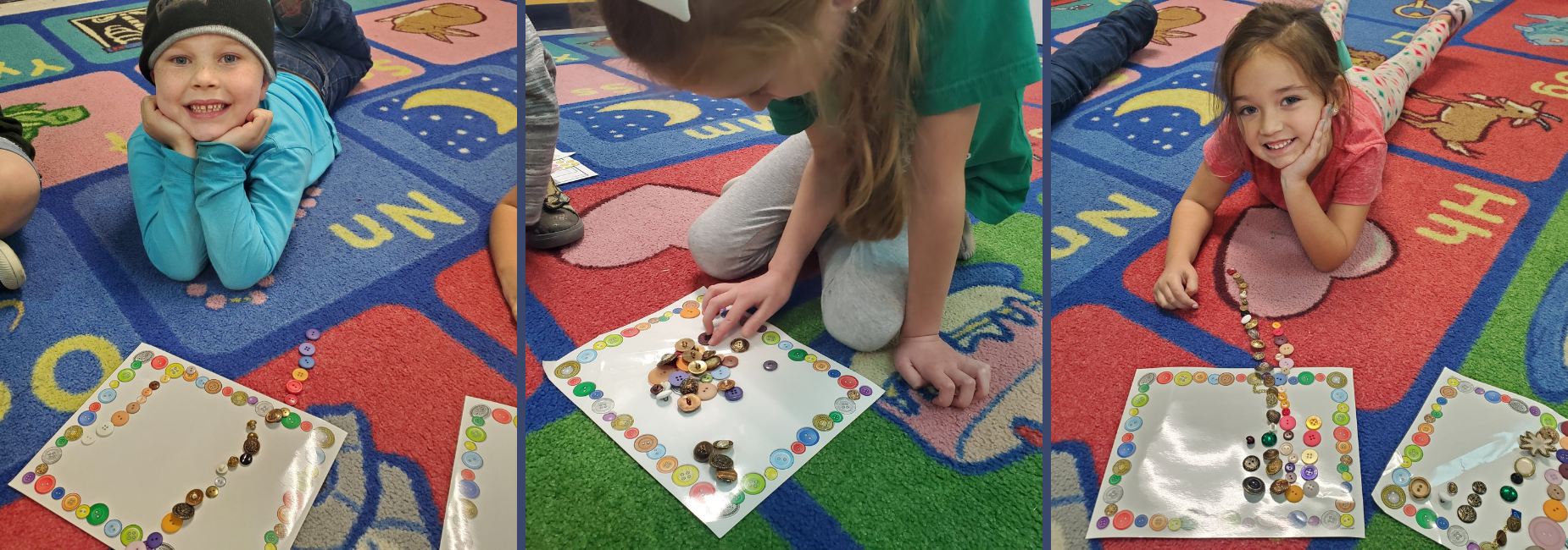 students learning to count with buttons