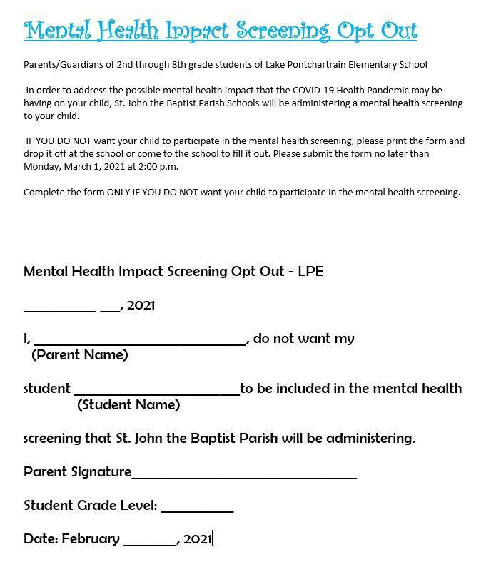Mental Health Screening Form