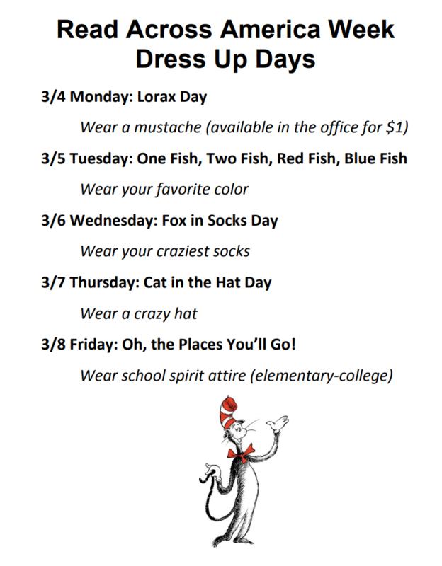 Read Across America Week Dress Up Days Flyer