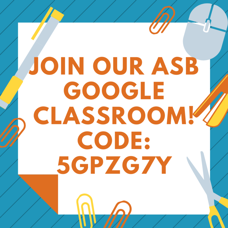 Text reads: Join ASB Google Classroom! Code: 5gpzg7y