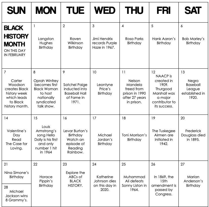 Black History Month Calendar 2