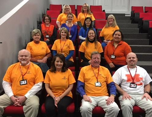 Mayfield Central Office Employees wear orange to support our friends and neighbors in Marshall County after their horrific tradgedy