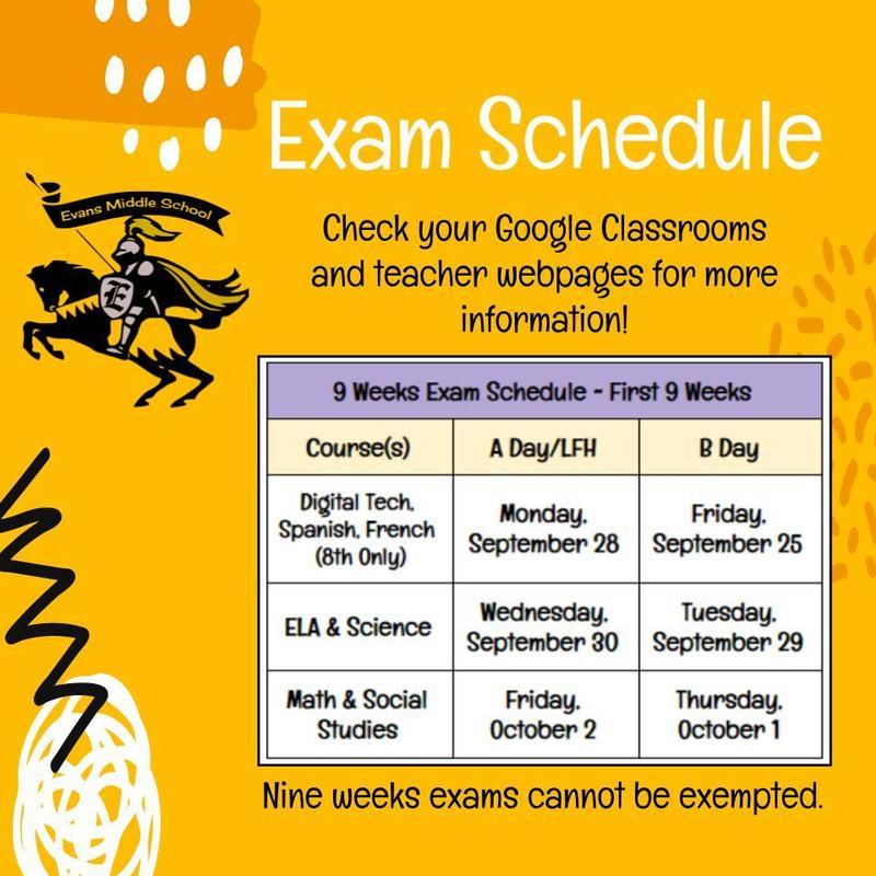 Evans Middle School Nine Weeks Exams