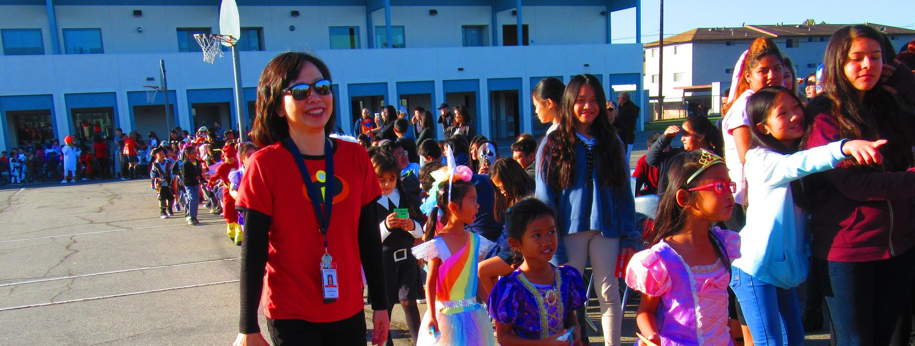 Ms. Lau and Class during the Halloween Parade
