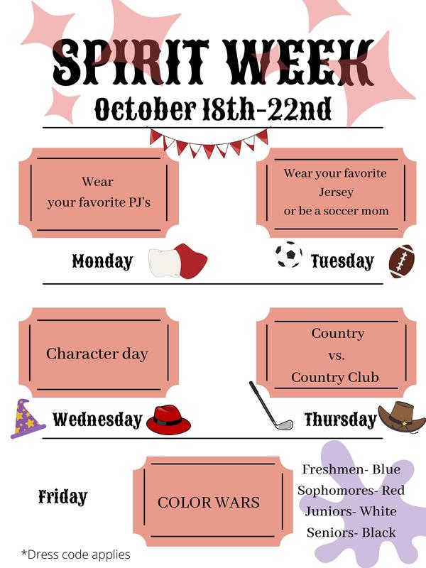 Southbridge High School spirit days flyer.  All information is also in the body of the post.
