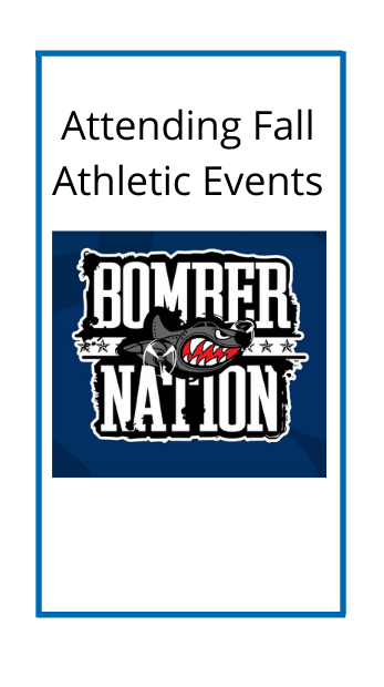 attending fall athletic event with the bomber nation logo