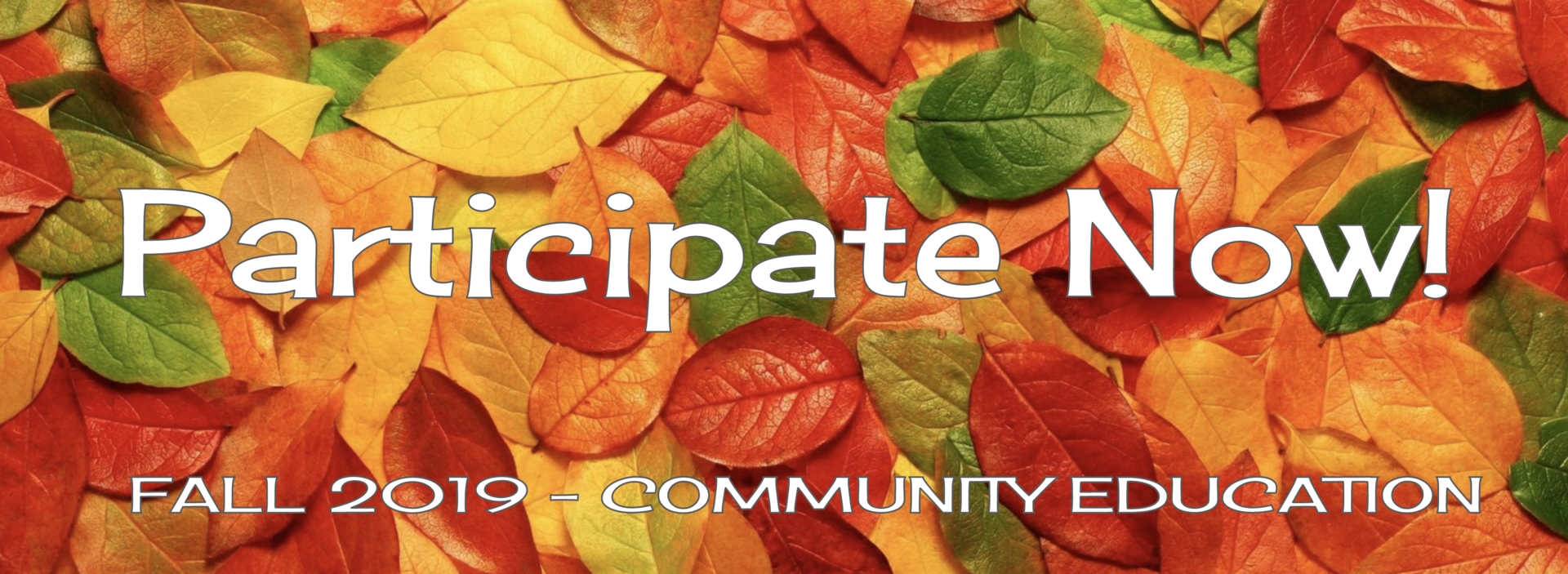 Fall Leaves scene with Community Education message to 'Participate Now!' posted over the leaves.