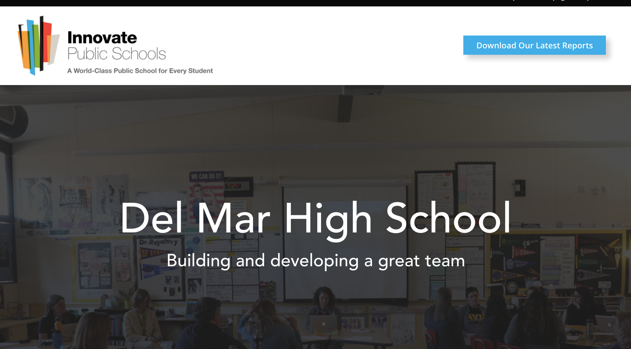 Photo of Del Mar featured as a top performing school on Innovate Public Schools website