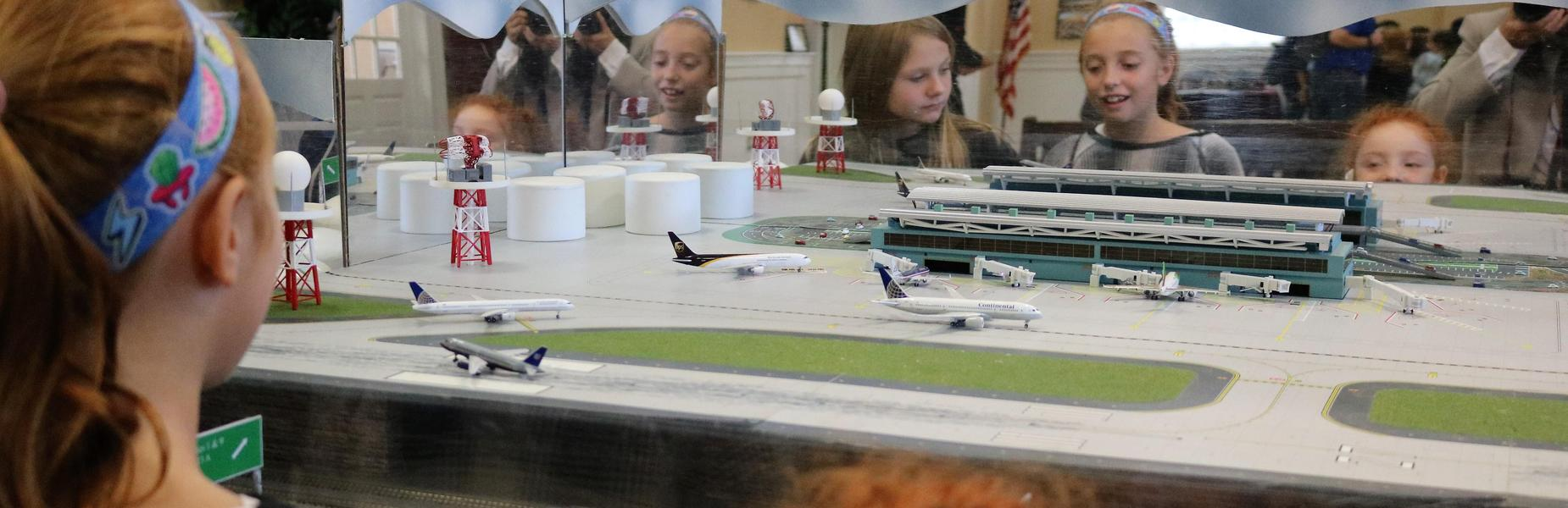 McKinley 3rd graders enjoy a model train layout during a walking tour of Westfield.