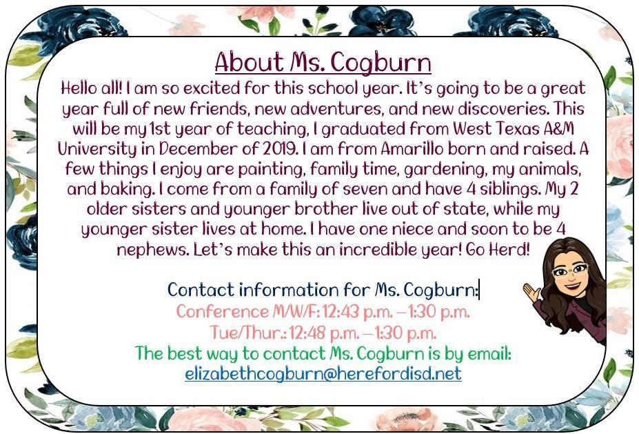 About Ms. Cogburn