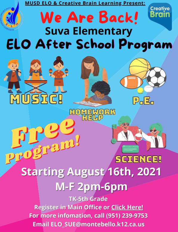 ELO After School Program Flyer (English)