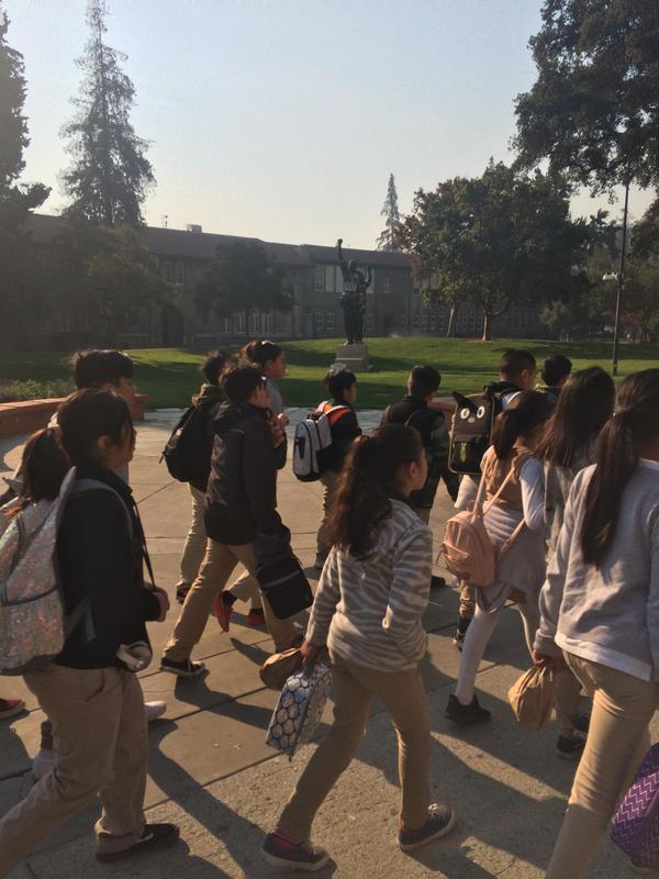 Students walking through campus, image 3