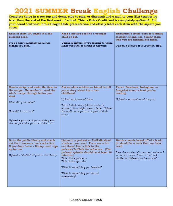summer break english challenge