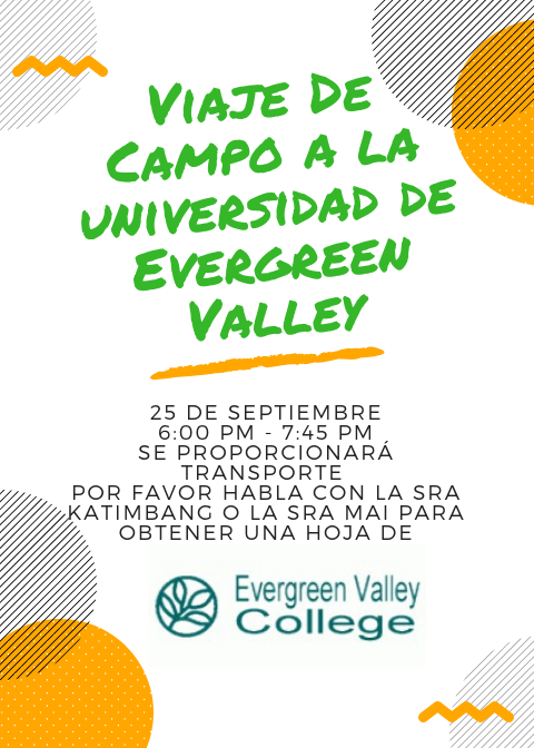 A flier for the EVC field trip in Spanish.