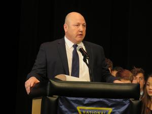 Superintendent Rob Blitchok speaks at the NHS induction program.