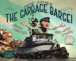 cartoon ship captain on a cartoon ship filled with garbage