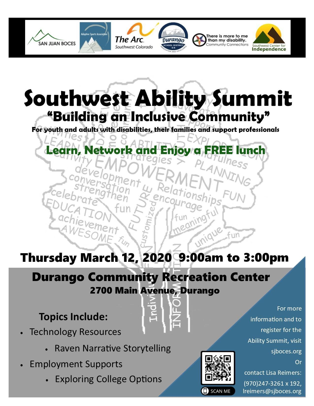 Southwest Ability Summit, Thursday March 12th, 2020 at the Durango Community Recreation Center from 9:00 am to 3:00 pm