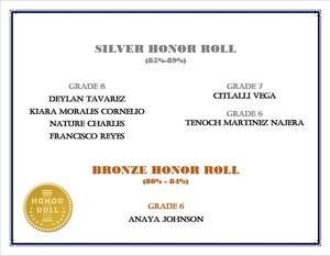 Silver and Bronze Honor Roll Students