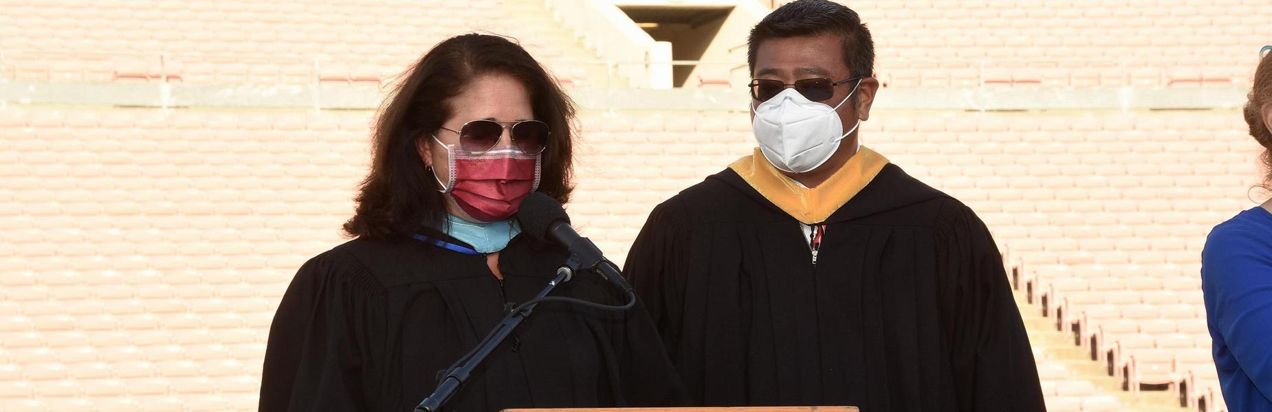 Principal Jeannie Gutierrez and Board Member Ken Tang