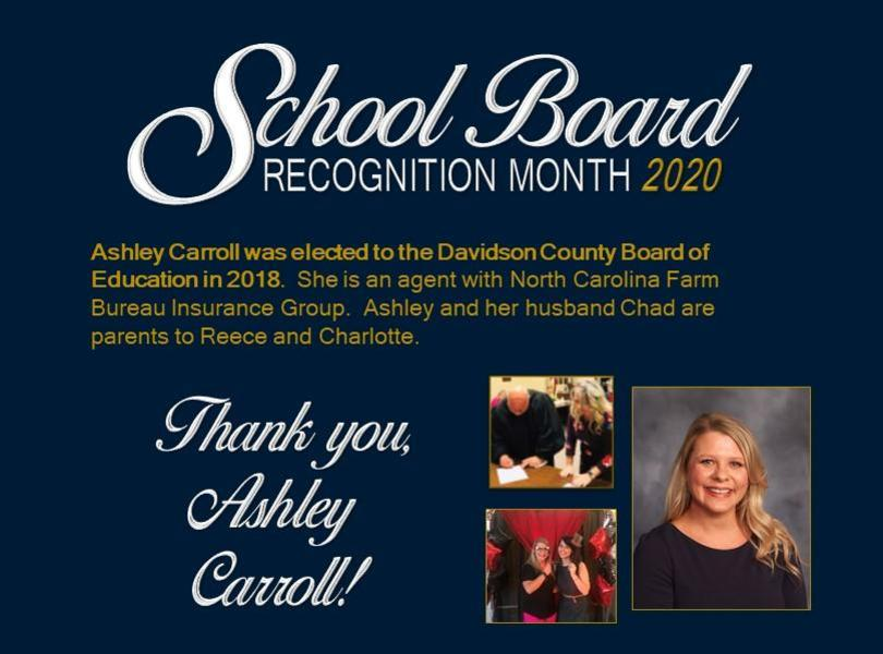 Ashley Carroll was elected to the Davidson County Board of Education in 2018.  She is an agent with North Carolina Farm Bureau Insurance Group.  Ashley and her husband Chad are parents to Reece and Charlotte.
