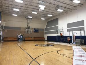 final take down of protective layers in gym