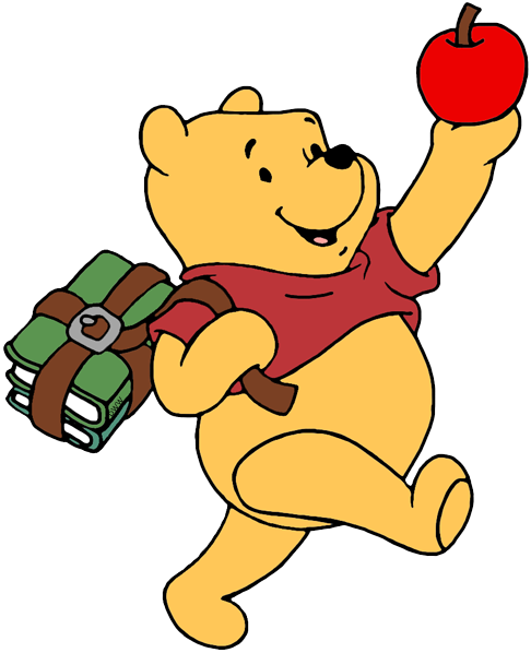 Winnie the Pooh carrying books and apple