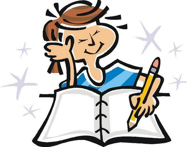 clipart of girl writing