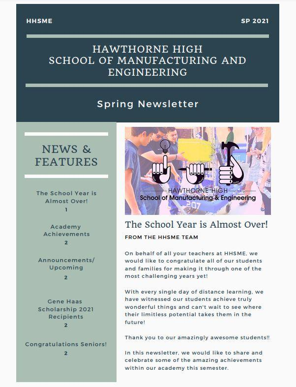Hawthorne High School of Manufacturing And Engineering Spring Newsletter Featured Photo