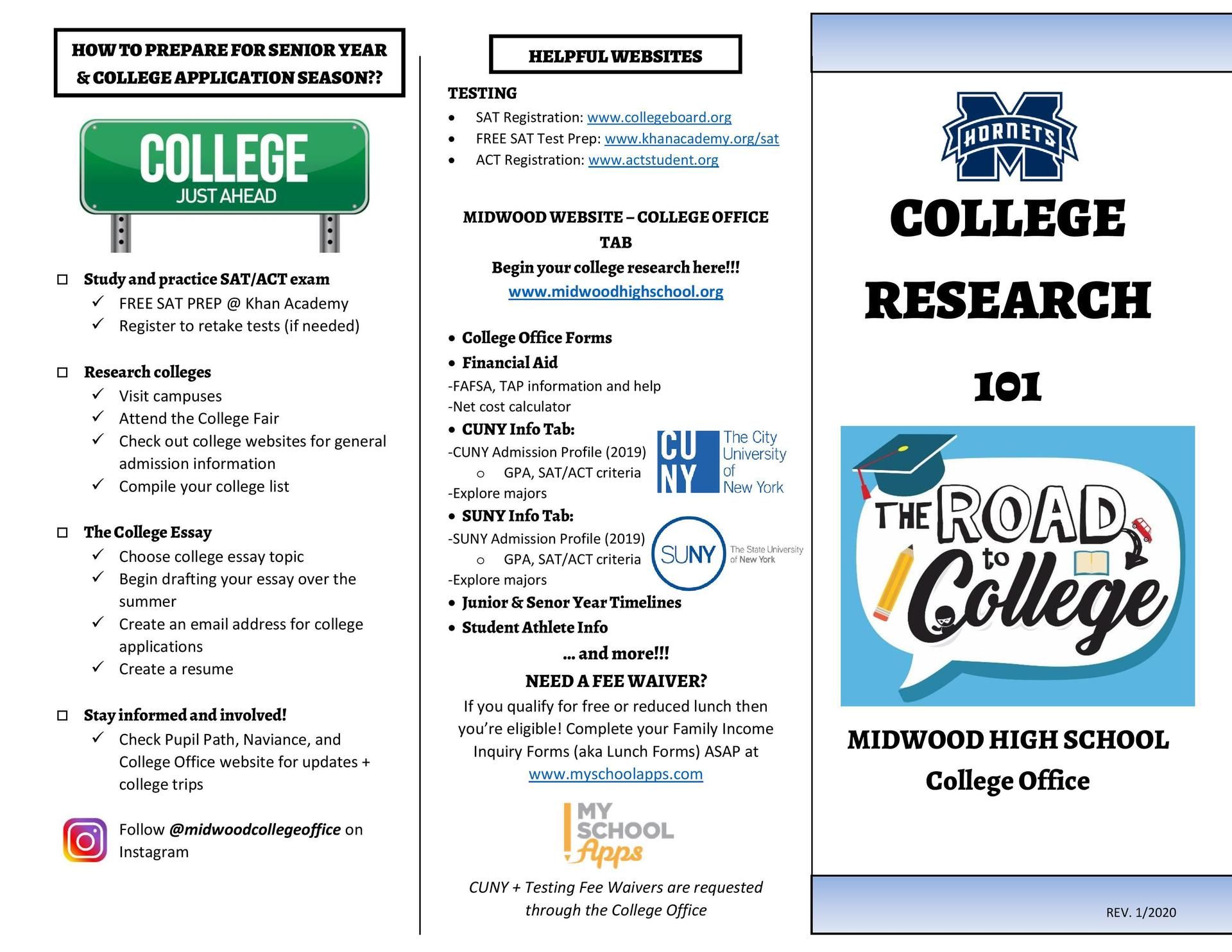 College Office Road to Success Pamphlet 1