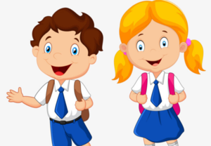Animated image of girl and boy with backpacks