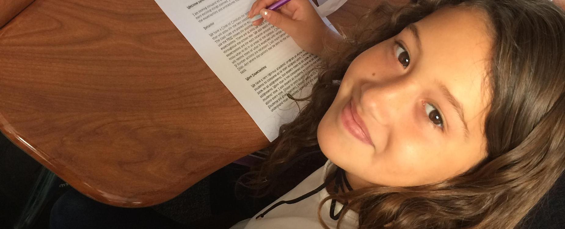 student finishing classwork