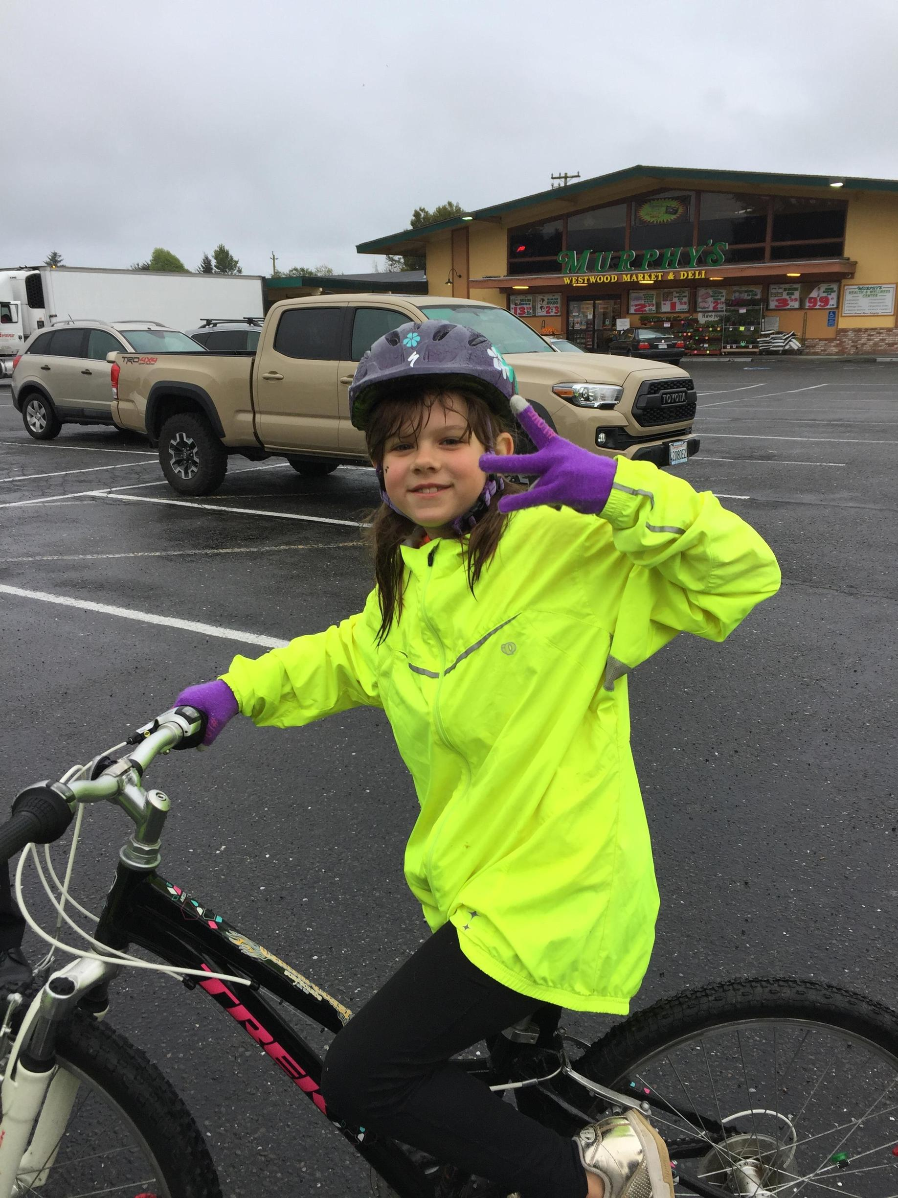 Bike rider ready to ride to school