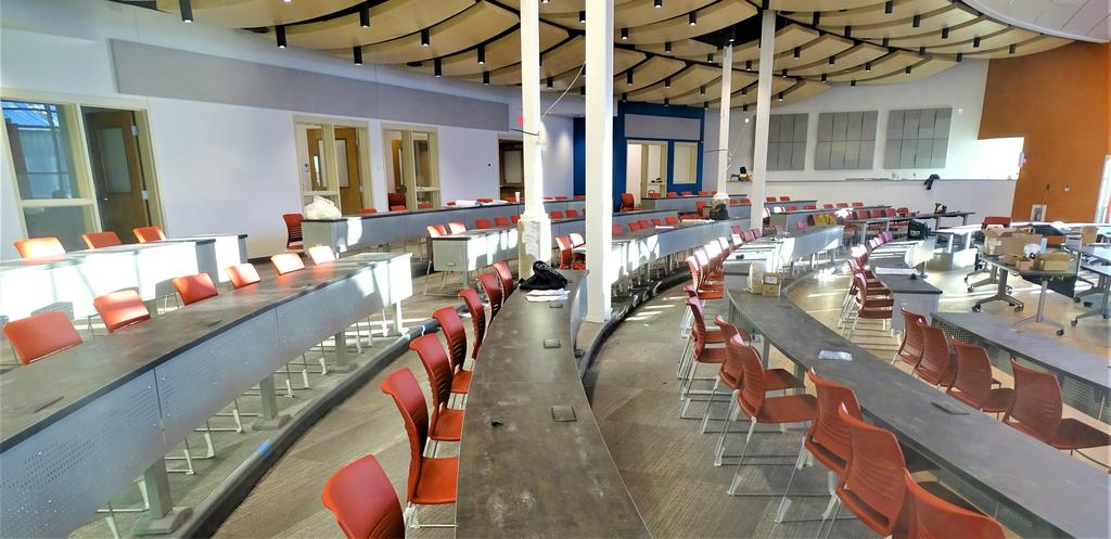 This snapshot of January 17, 2020 shows that installation of chairs and table systems for the large group instruction room is mostly completed. It's anticipated the general construction contractor will reach substantial completion of the large group instruction room later this month.