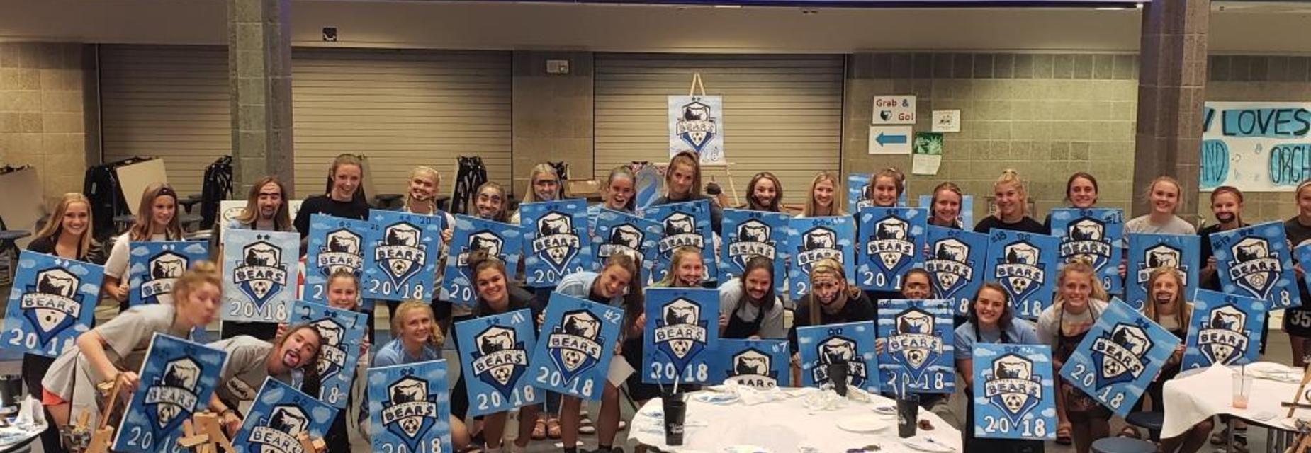 Lady Bears Soccer Team Building with Art