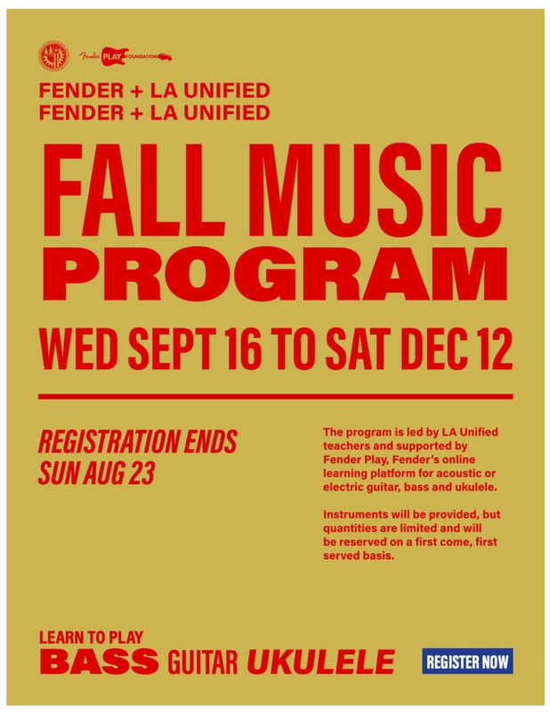 Fender-LAUSD Fall 2020 Music Program for Middle School Students/Programa de música Fender-LAUSD Otoño 2020 para estudiantes de secundaria Featured Photo