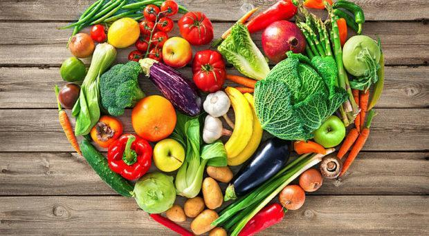 picture of healthy foods shaped in a heart, fruits and vegetables