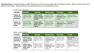 iReady Testing Schedule