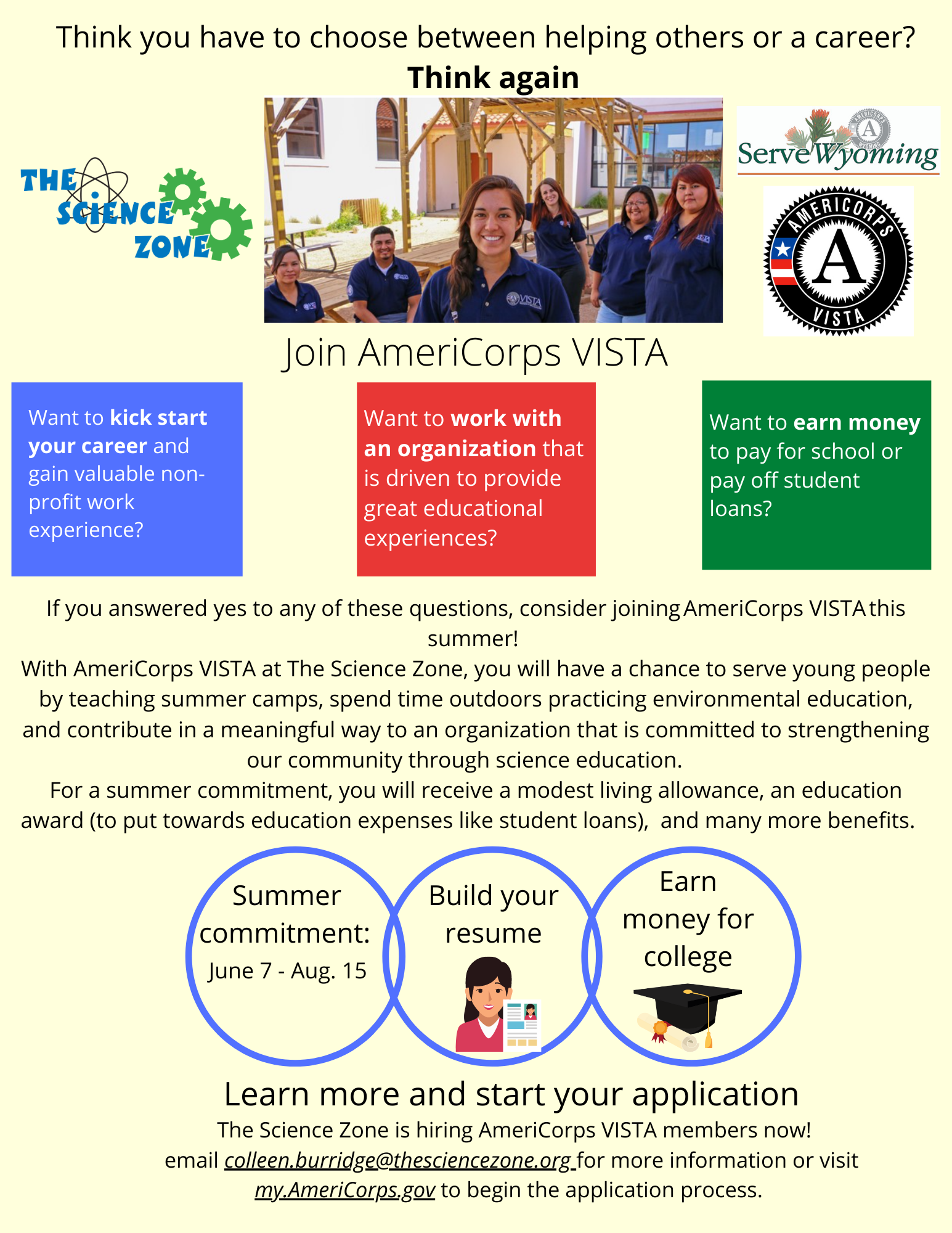 VISTA Summer Opportunity at the Science Zone Flyer