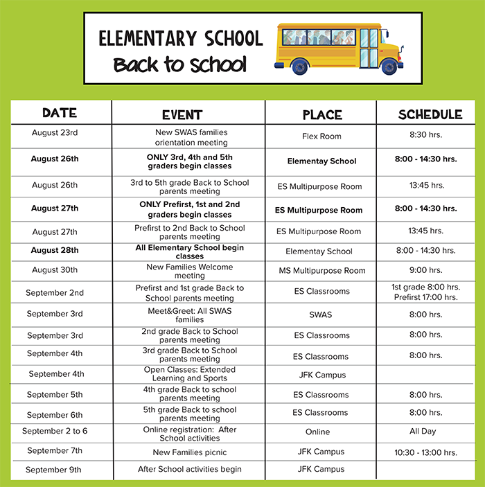 Elementary Back to School