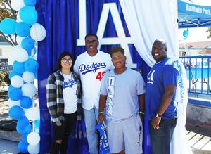 Baldwin Park High School students posed for pictures with former L.A. Dodger pitcher Dennis Powell during the school's second annual Dodger Day on Oct. 18.