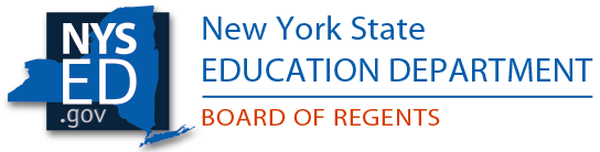 New York State Department of Education Regents Logo with text and outline of New York State