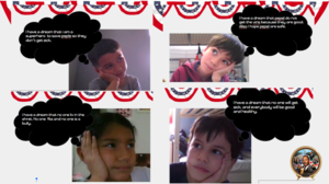 Students collage with thought bubbles of dreams