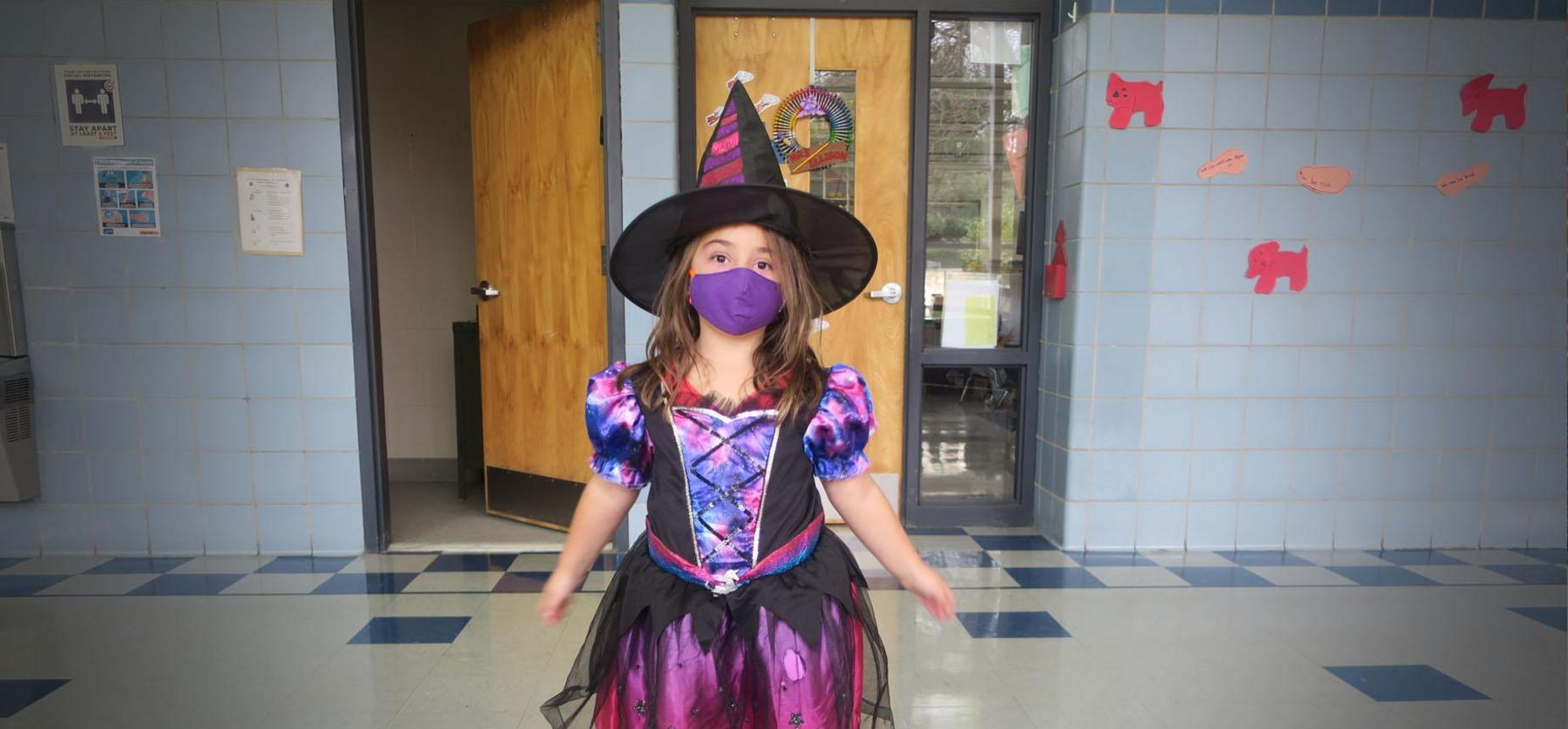 Elementary Honeoye student playing halloween games