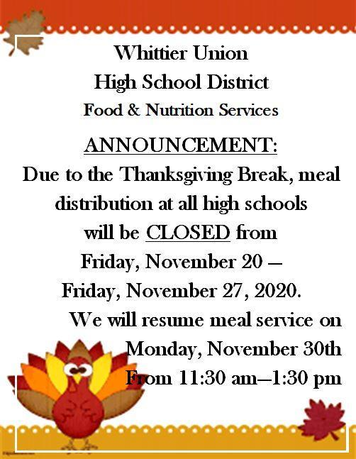 food services closed flier