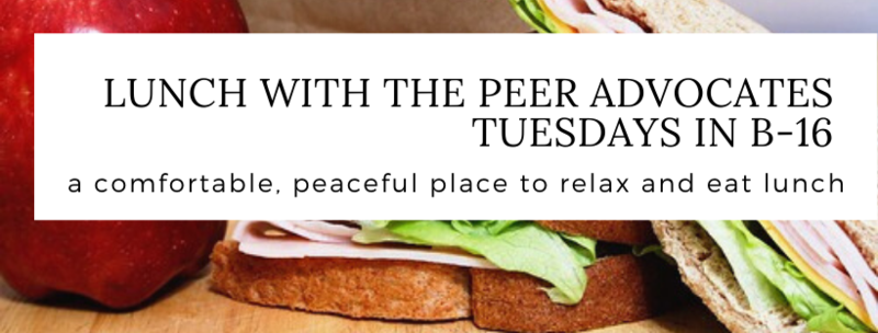 Tuesday Lunches w/ Peer Advocates in B-16 Featured Photo